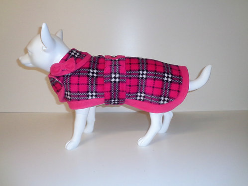 Pink Tartan fleece coat with Optional Bows From £12.50