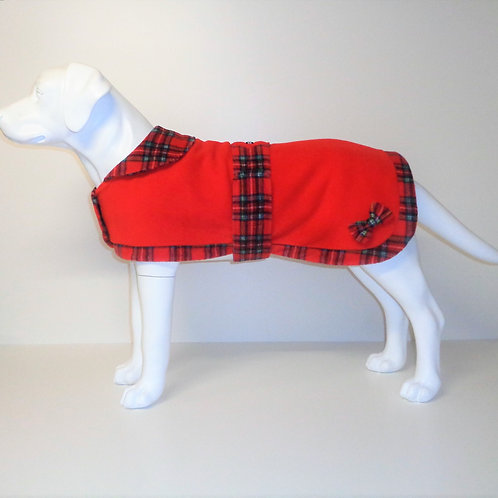 Red Tartan Trim fleece coat with Optional Bows From £12.50