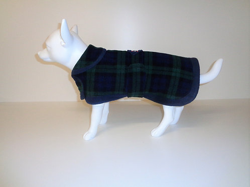 Navy Tartan fleece coat with Optional Bows From £12.50