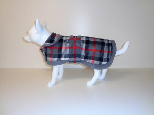 Grey Tartan fleece coat with Optional Bows From £12.50