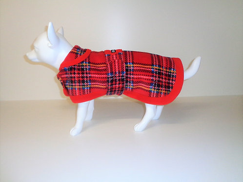 Red Large Check Tartan fleece coat with Optional Bows From £12.50