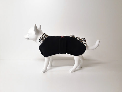 Black fleece coat with Leopard design detail and bow From £13.50