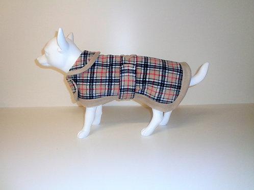 Beige Tartan fleece coat with Optional Bows From £12.50