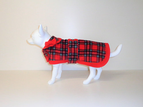 Red Tartan fleece coat with Optional Bows From £12.50