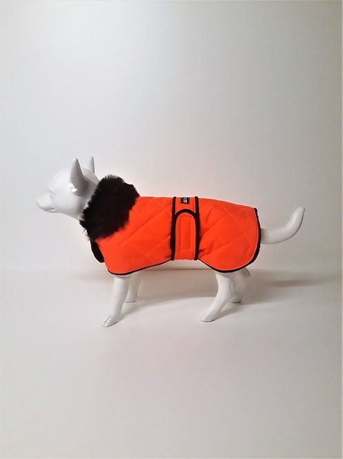 Bright Orange Quilted Coat with Luxury Faux Fur Collar From £15.99