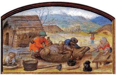 """Matança do porco"""", iluminura do Livro de Horas de D. Manuel I , Séc. XVI"""