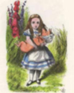 Alice com porco bebé em Bonnet, Alice no País das Maravilhas, de Lewis Carroll, John Tenniel, impresso na América, 1978, antiga impressão para crianças. Museu do Bísaro