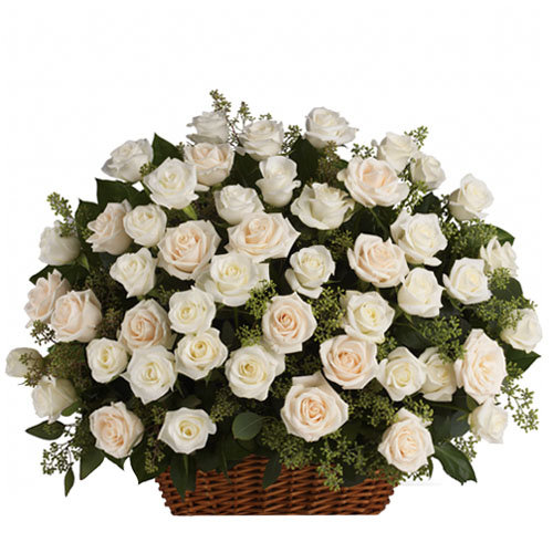 Basket of White Roses