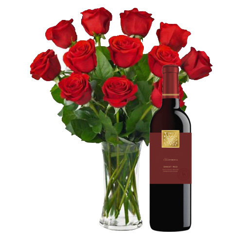 Red Roses with Wine