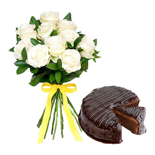 White Roses Chocolate Cake