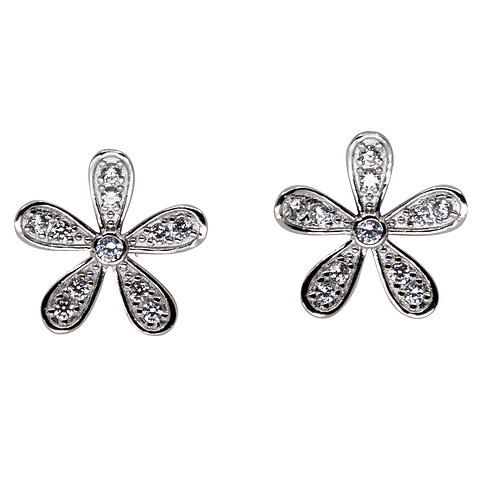 Flower Stud With Cubic Zirconia