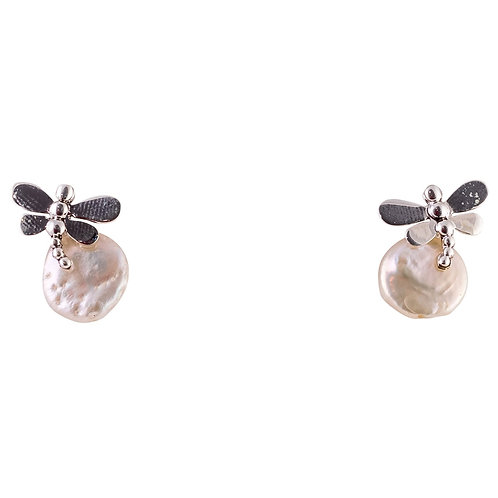 Hand Made Coin Pearl With Dragonfly
