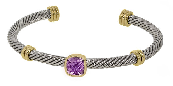 Wire Cuff With Center Cubic Zirconia