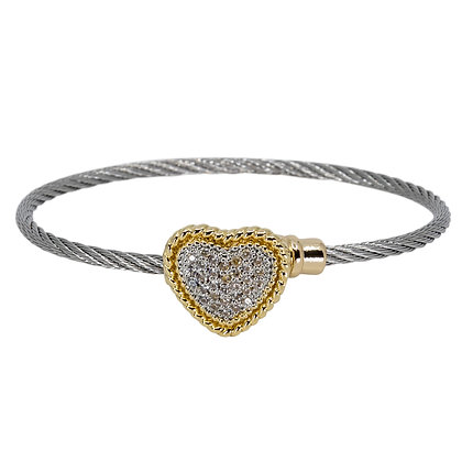Twisted Wire With Pave Heart