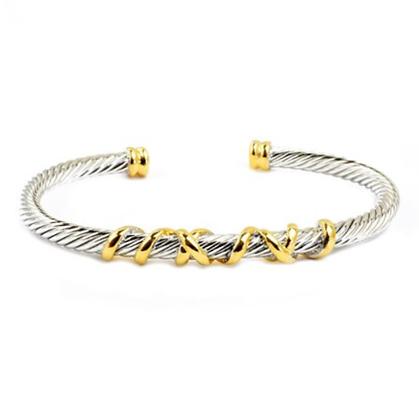 Wire Cuff With Gold Twist