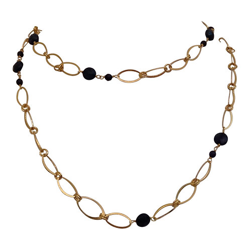 Oval Chain with Sapphires and Pearls