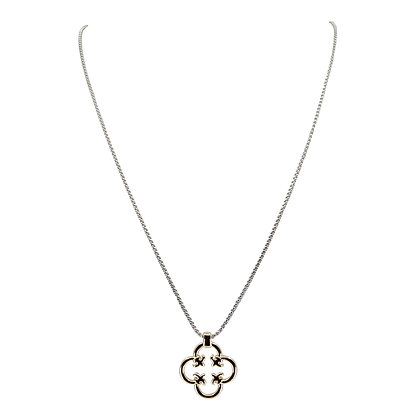 Two-Tone Quatrefoil on Slide Necklace