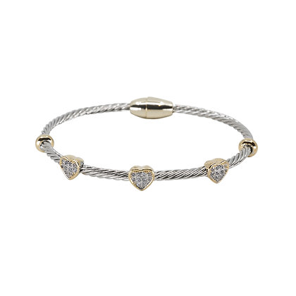Magnetic Oval With Cubic Zirconia Hearts