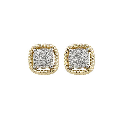 Pave Square Stud With Roping