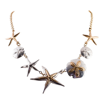 Two-Tone Starfish and Sand Dollar Necklace