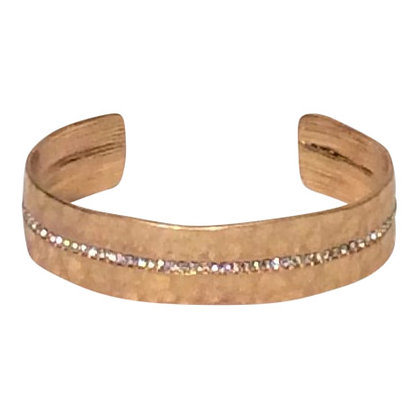 Hammered Cuff With Cubic Zirconia