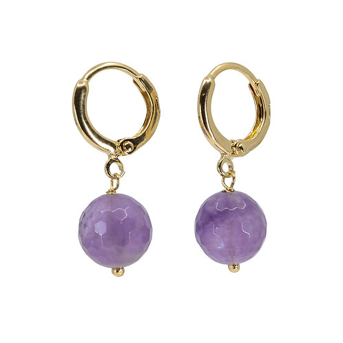 Huggie With Amethyst Drop - additional stones