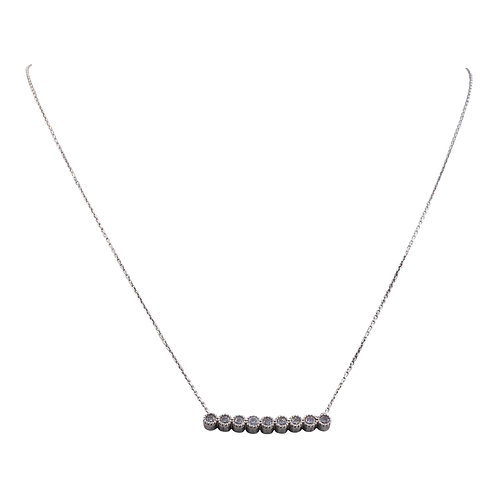 Sterling Silver Nine CZ Bar