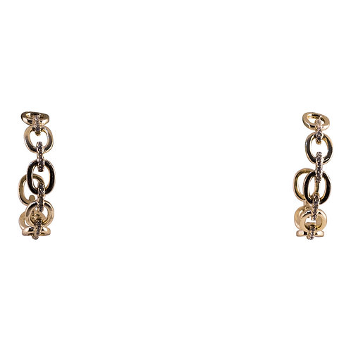 Gold Vermeil Link Hoops with CZ