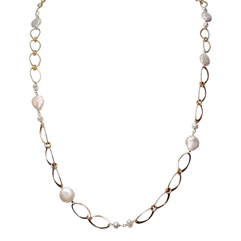 Oval Chain with Pearls