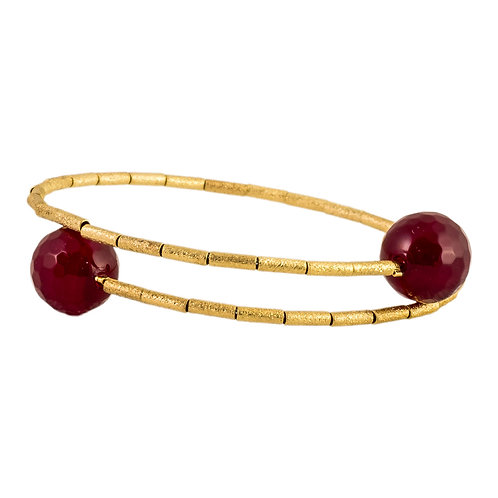 HB 241 R Gold Vermeil Memory Bracelet with Ruby