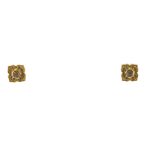 Gold Vermeil Stylized Flower with CZ