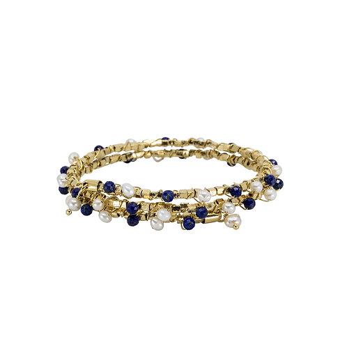 Pearl Wrap Bracelet with Semi-Precious Stones