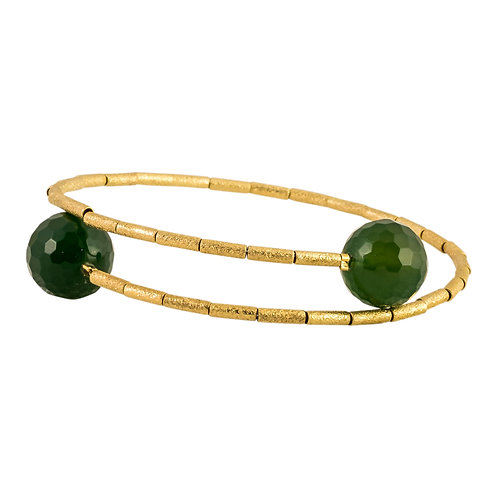 HB 241 E Gold Vermeil Memory Bracelet with Emerald