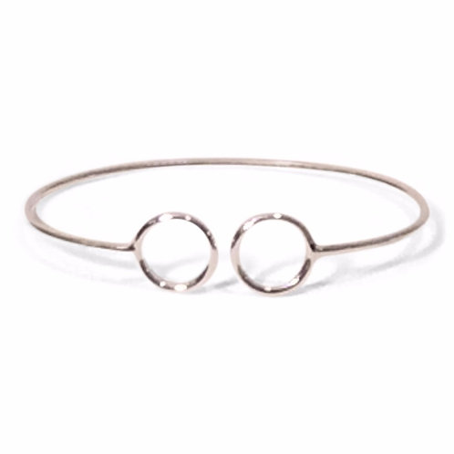 Sterling Silver Double Open Circle Cuff