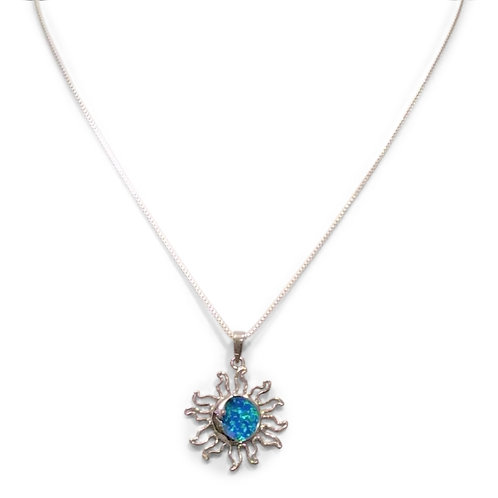 Sterling Silver Box Chain with Blue Opal Sun and Moon