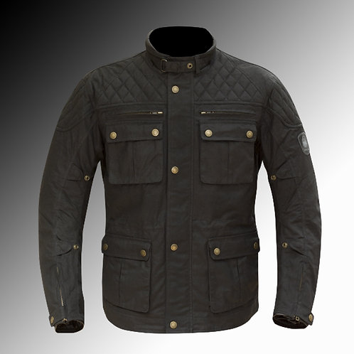 Merlin Heritage Yoxall wax armoured black motorcycle jacket
