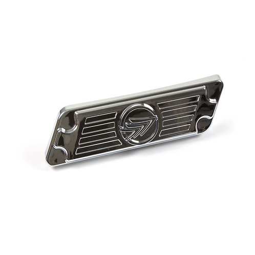 08. Side cover panel badge right chrome with Keeway logo