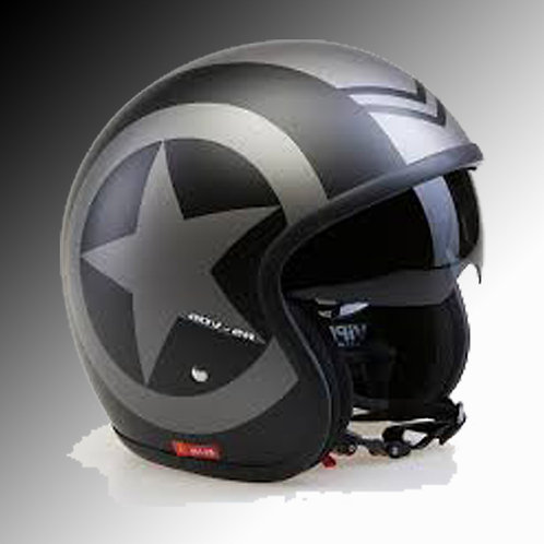 Viper RSV-06 matt black star open face helmet