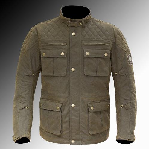 Merlin Heritage Yoxall wax armoured brown oilve motorcycle jacket