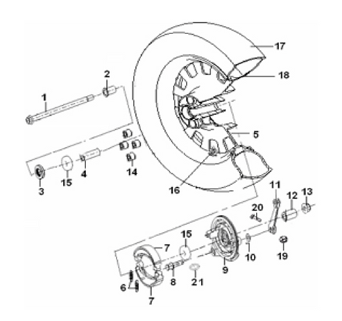 06. Rear brake drum shoe spring