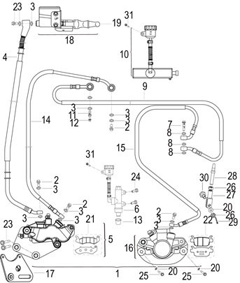 12. Front & rear disc brake combining hose banjo bolt valve