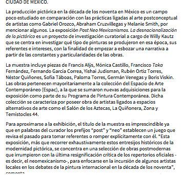 Pieza en exposición 'Post Neo Mexicanismos' – ESPAC