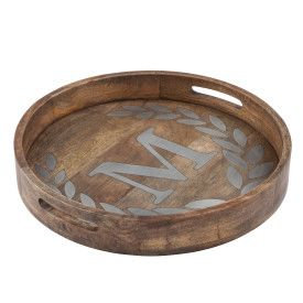 "WOOD/METAL 20"" ROUND TRAY ""M"""