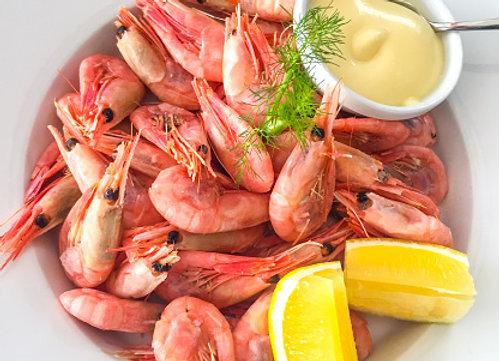 Unpeeled shrimps