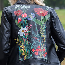 Flowers on Black Leather