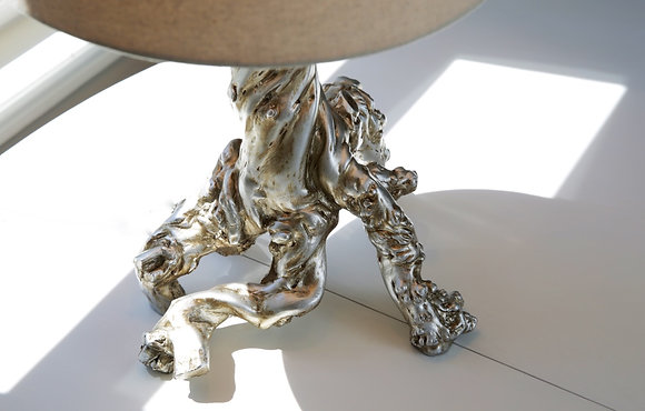 Silver Gnarled Branch Table Lamp