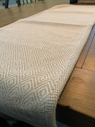Table Runner -Woven Beige & White Diamonds