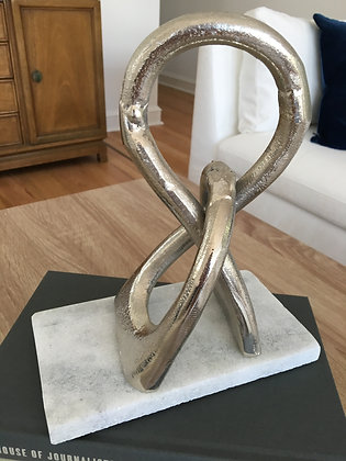 Silver Abstract Sculpture on Stone Base