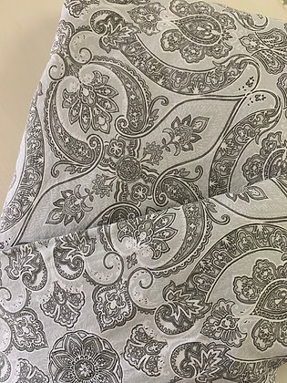 QUEEN Grey Paisley Duvet Cover Set