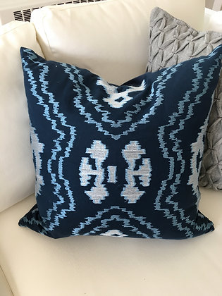 "20"" Dark Navy & Silver Ikat Cover"